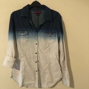 Tops - Rock and roll cowgirl snap denim shirt